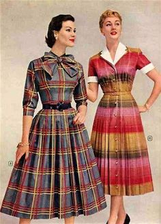 Plaid and stripes from Montgomery Ward, 1950s. #vintage #1950s #dresses #fashion