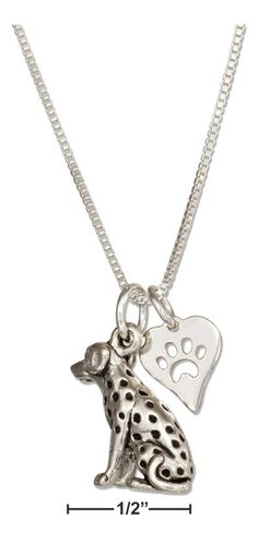 """Sterling Silver 18"""" Dalmatian Pendant Necklace With Dog Paw Print Heart Charm"""