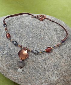 Love this Coppertone & Leather Graduated Pendant Necklace on #zulily! #zulilyfinds    18'' L
