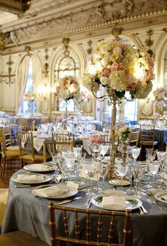 french opulance, blue and gold wedding reception