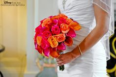 Pretty pink and orange bridal #bouquet