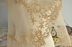 Alencon Lace Trim in Gold for Wedding Gown  Bridals by lacetime