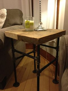 Industrial Inspired Wood Side Table by IndustrialUpcycled on Etsy