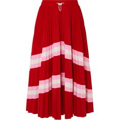 Valentino Plissé striped stretch-knit midi skirt (6.195 DKK) ❤ liked on Polyvore featuring skirts, red, holiday skirts, stripe skirt, calf length skirts, knee length pleated skirt and striped pleated skirt