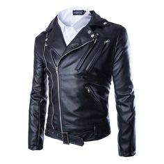 be8c5092bdd 2016 Autumn Fashion Men Casual Zippers Leather Motorcycle Jacket Overcoat Leather  Biker Jackets And Coats Plus Size