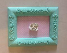 Quadrinho azul tiffany com tecido e flor