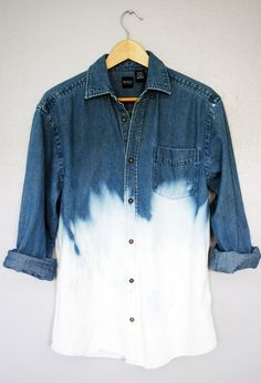90s Grunge Unisex Dip Dye Ombre Bleached Denim Long Sleeve Shirt Top Oversized. $59.00, via Etsy.