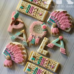 """It's a #powwow celebration for Paola's first birthday!!!  Letter cookie design…"