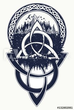 Celtic knot tattoo. Mountain, forest, symbol travel, symmetry
