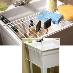 20 Small Space Laundry Room Organization Tips Utility Sink Shelf – Cut a section of leftover wire shelving and set it over the front of your ut Laundry Tubs, Laundry Room Shelves, Small Laundry Rooms, Laundry Storage, Laundry Room Organization, Closet Storage, Diy Storage, Storage Ideas, Organization Ideas