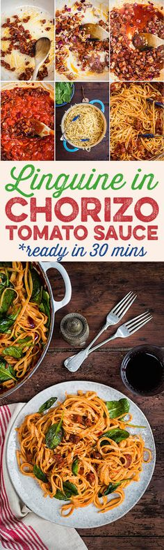 Spicy chorizo and tomato linguine with spinach - ready in under 30 minutes, this is the perfect quick midweek meal. Italian Pasta Recipes, Healthy Pasta Recipes, Healthy Pastas, Cooking Recipes, Delicious Recipes, Tasty, Yummy Food, Best Pasta Dishes, Food Dishes