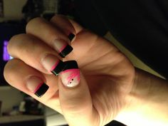 Hot pink and black gel nails