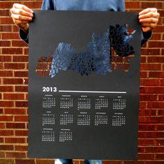 2013 Succulent Paper Cut wall calendar. $40 by Curious Doodles via @Etsy