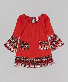 Look what I found on #zulily! Orange Tribal Ruffle Dress - Toddler & Girls by Just Kids #zulilyfinds