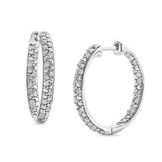 Zales 1/10 CT. T.w. Enhanced Black Diamond Triple Row Hoop Earrings in Sterling Silver eg2P3hI