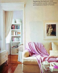 Curtain door is an interesting idea.  Good idea for master when the kids get older