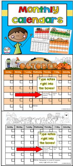 EDITABLE monthly calendars. SO cute! You can type your information right into the boxes! $ #calendars #editablecalendars #monthlycalendars