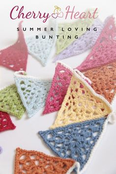 Cherry Heart: Summer Lace Bunting Crochet Pattern by Sandra Paul. Diy Tricot Crochet, Crochet Motifs, Crochet Squares, Love Crochet, Crochet Gifts, Crochet Flowers, Crochet Lace, Crochet Patterns, Crochet Summer