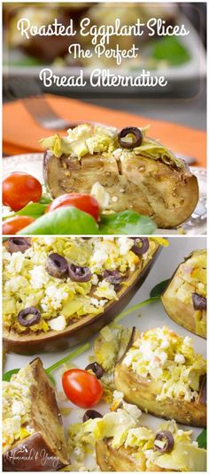 Roasted Eggplant Slices The Perfect Bread Alternative is great for carb watchers. Topped with artichokes, feta cheese