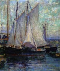 Drying sails, Gloucester by Oscar Anderson