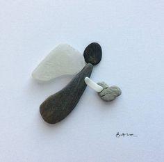 Angel 6x6 inch Pebble Art by Britt Loe Cornwall. Free UK