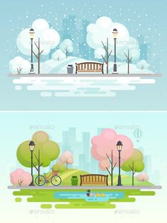 Buy City Park by aviany on GraphicRiver. City park, spring and winter seasons. This is vector illustration. You can edit and scale it to any size. Flat Design Illustration, City Illustration, Landscape Illustration, Game Ui Design, Map Design, Nature Vector, Cartoon Background, Affinity Designer, Photoshop Design