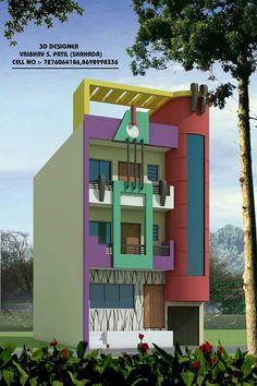 F Duplex House Design, House Front Design, Modern House Design, Front Elevation Designs, House Elevation, Style At Home, Exterior Colors, Exterior Design, 3d House Plans