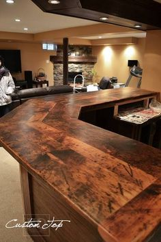 Custom Reclaimed Wood Bar / Island Tops