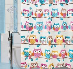 Owl PEVA Shower Curtain WaterProof  Cartoon Colorful Design Bathroom  180x180cm