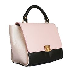 Designer Style Origami Pink Leather Handbag (Large Size) - Down to £39.99 from £49.99