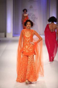 India Bridal Fashion Week 2013 – Adarsh Gill orange Sharara