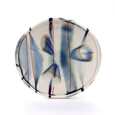 Sean O'Connell : Porcelain Dinner Plate with Runny Blue Circles and Red Lines, Tableware, Handmade Pottery, Dinnerware, Serving Plate
