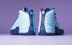 "When the wool and OVO sale, this weekend will usher in a new color of the Air Jordan 12. This pair of female models exclusive Air Jordan 12 Retro ""Purple Dust"" to light blue with dark purple on the details, as the Charlotte Hornets color, simply do not do not clean. Follow my retail store: Cheapjordanshoesfreeshipping.com"