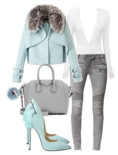 soft blue and gray by minkstyles on Polyvore featuring polyvore, fashion, style, Wes Gordon, Balmain, Givenchy, Fendi, women's clothing, women's fashion, women, female, woman, misses and juniors