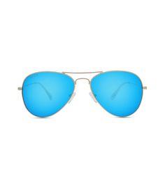 Aviator Shield Plastic Frame Sunglasses Blue Green Lens OS Grey Frame