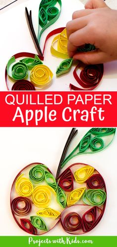 Celebrate fall with this easy paper quilling apple craft! No special tools are needed, making it a perfect craft for kids to learn this fun technique. Kids will love learning and creating with this unique paper craft. Arts And Crafts, Paper Crafts, Craft Projects For Kids, Paper Quilling, Creative Crafts, Preschool Crafts, Holiday Crafts, Handmade Gifts, Apple