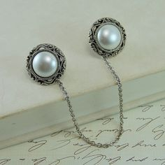 Sweater Clip  Antique Silver Pearl Buttons by HelloPretty on Etsy, $18.00