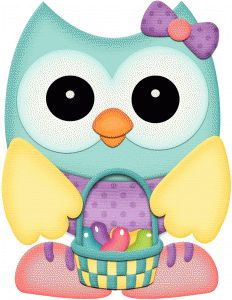 Silhouette Design Store - View Design #58095: easter owl w basket of jelly beans pnc