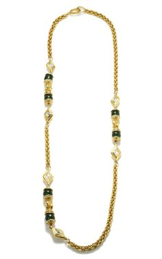 Chanel Chain Necklace With Green Cabochons