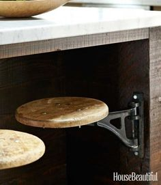 Swivel stool under kitchen island - Industrial Kitchen Design Ideas - House Beautiful. This has to be one of the coolest things I've seen! Clever Kitchen Storage, Bathroom Storage, Kitchen Storage Solutions, Bathroom Organization, Industrial Kitchen Design, Rustic Industrial, Design Kitchen, Kitchen Ideas For Small Spaces Design, Industrial Decorating