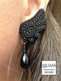 "Lolissa sutasz: Komplet sutasz ""Skrzydła kruka"" Bead Jewellery, Beaded Jewelry, Jewelery, Handmade Jewelry, Macrame Earrings, Soutache Earrings, Soutache Pattern, Passementerie, Bead Embroidery Jewelry"
