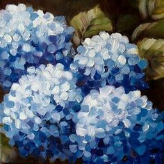 37 ideas flowers blue painting acrylic for 2020 Hydrangea Painting, Acrylic Painting Flowers, Blue Painting, Acrylic Art, Painting & Drawing, Watercolor Paintings, Flower Watercolor, Diy Painting, Easy Flower Painting