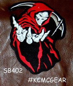 """Red Grim Reaper Death Patch Patch Biker Motorcycle Jacket Vest Shirt Size 5""""  #sturgismidwestinc"""