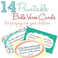 14 free printable Bible verse cards with Scriptures to pray over your children! Praying Scripture over our kids is such a powerful thing, and sometimes we need a reminder of exactly how and what to pray for our kids. These Bible verse notecards can help you with just that!
