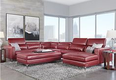picture of Sofia Vergara Sorrento Red 5 Pc Sectional Living Room  from Living…