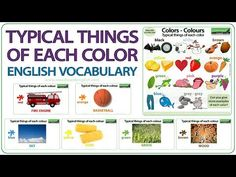 Typical things of each colour - English Vocabulary Lesson Learn English Grammar, English Vocabulary Words, Woodward English, English Teaching Resources, Ell Students, Colour, Education, Learning, Videos
