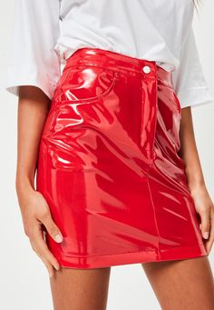 Missguided - Mini-jupe rouge en vinyle