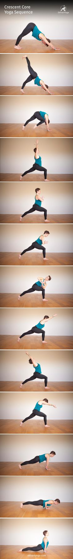 A Crescent Core Yoga Sequence to get your heart rate going and your body grounded. Yoga Flow, Yoga Meditation, Yin Yoga, Namaste, Restorative Yoga Poses, Yoga For Back Pain, Basic Yoga, Iyengar Yoga, Yoga Tips