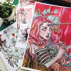 "Packaging orders and making prints today to ship out. I now have added ""Decay"" & ""Into Spring"" to the shop. Also I am thinking of adding ""Decay"" to the shop as a 13""x19"" print cause it looks bloody glorious printing on huge watercolour paper. There goes all my magenta ink. #art #arte #artist #artsy #artwork #painting #watercolor #watercolour #occult #witch #zombie #zombiegirl #myart #audraauclair #princessmononoke #studioghibli #studioghibliart #noface #spiritedaway #unicorngirl #unicorn..."