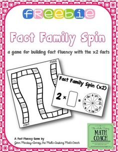 Hello, and thanks for looking at this product!Fact Family Spin: 2s tables helps your students build and maintain fluency with the multiplication facts and helps them achieve automaticity.  This file contains the following: Directions for your students explaining how to play Game board Spinner for the x2 facts A list of x2 facts and fact families (up to x10)The x2 facts are considered part of the foundation facts that students will use to develop other multiplication facts.